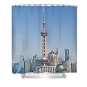 Pudong Skyline In Shanghai China Shower Curtain