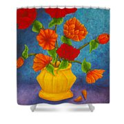 Red And Orange Flowers Shower Curtain