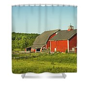 Red Barn And Fence On Farm In Maine Shower Curtain