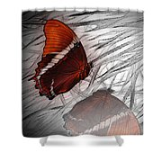 Red Butterfly Shower Curtain