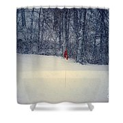 Red Flag On The Snow Covered Golf Course Shower Curtain