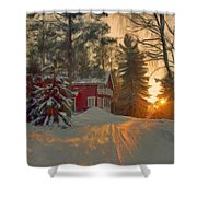 Red House In The Winter Shower Curtain