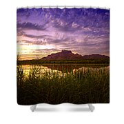 Red Mountain Reflections  Shower Curtain