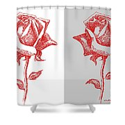 2 Red Roses Poster Shower Curtain