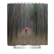 Red Umbrella In The Forest Shower Curtain