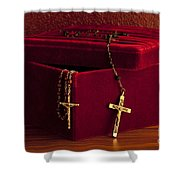 Red Velvet Box With Cross And Rosary Shower Curtain