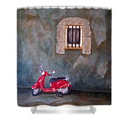 Red Vespa Shower Curtain