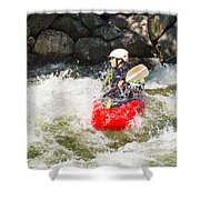 Red Whitewater Kayak Shower Curtain