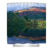 Reflection Of Hills In A Lake Shower Curtain