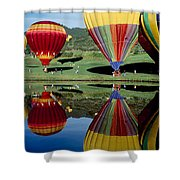 Reflection Of Hot Air Balloons Shower Curtain