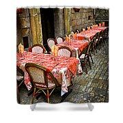 Restaurant Patio In France Shower Curtain by Elena Elisseeva