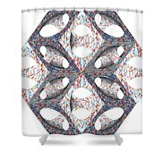 Retro Ornamental Subtraction Of Cube And Sphere  Shower Curtain