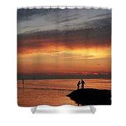 Rock Harbor Sunset Shower Curtain