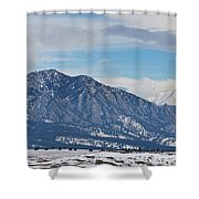 Rocky Mountains Flatirons And Longs Peak Panorama Boulder Shower Curtain