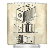 Roll Film Camera Patent 1888 - Vintage Shower Curtain