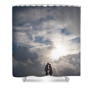 Romantic Couple On A Mountain Peak Shower Curtain