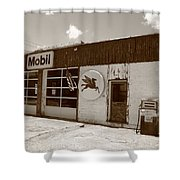 Route 66 - Rusty Mobil Station Shower Curtain