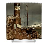 Rusted Whaling Boats Shower Curtain by Amanda Stadther