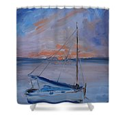 Sailboat Reflections II Shower Curtain