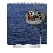 Sailors Lower A Rigid-hull Inflatable Shower Curtain