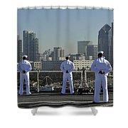 Sailors Man The Rails Aboard Shower Curtain