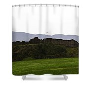 Saltire And The Ruins Of The Urquhart Castle In Scotland Shower Curtain