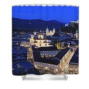 Salzburg At Night Austria  Shower Curtain