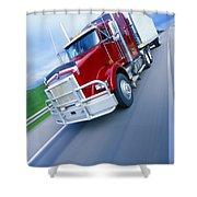 Semi-trailer Truck Shower Curtain by Don Hammond