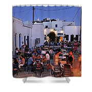 Serifos Town During Dusk Time Shower Curtain