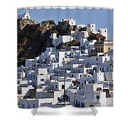 Serifos Town Shower Curtain