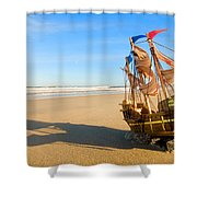 Ship Model On Summer Sunny Beach Shower Curtain