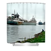 2 Ships Passing Shower Curtain