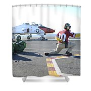 Shooter Signals To The Pilot Of A T-45c Shower Curtain