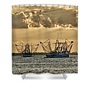 2 Shrimper Going To Sea Shower Curtain
