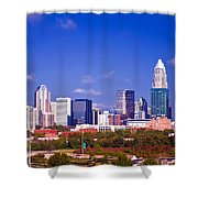 Skyline Of Uptown Charlotte North Carolina At Night Shower Curtain
