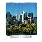 Skylines In A City, Bow River, Calgary Shower Curtain
