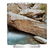 Small Waterfall Casdcading Over Rocks In Blue Pond Shower Curtain