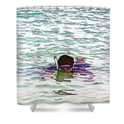 Snorkeling In The Lagoon Inside The Coral Reef Shower Curtain