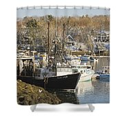 South Bristol And Fishing Boats On The Coast Of Maine Shower Curtain