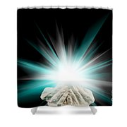 Spiritual Light In Cupped Hands On A Black Background Shower Curtain