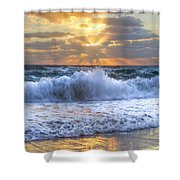 Splash Sunrise Shower Curtain by Debra and Dave Vanderlaan