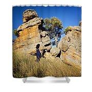 Split Rocks With Woman Shower Curtain