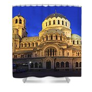St Alexander Nevsky Cathedral At Dusk Sofia Bulgaria Shower Curtain