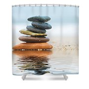 Stack Of Beach Stones On Sand Shower Curtain