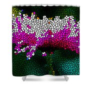 Stained Glass Pink Chrysanthemum Flower Shower Curtain