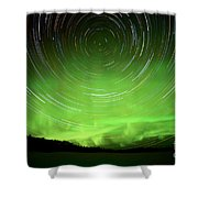 Star Trails And Northern Lights In Night Sky Shower Curtain