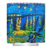 Starry Night Bridge Shower Curtain