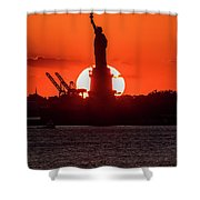 Statue Of Liberty Sunset. Nyc Harbor Shower Curtain