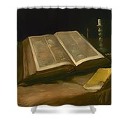 Still Life With Bible Shower Curtain
