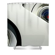 Streamlined In White Shower Curtain